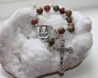 St. Padre Pio Catholic Pocket Rosary with Unakite--Catholic Pocket Rosary--St. Pio of Pietrelcina-Custom/Handmade-Ships Free