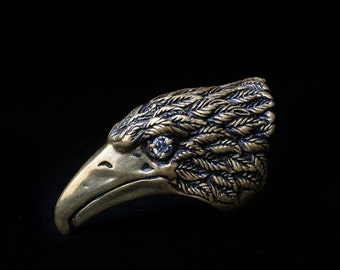 Crow Ring, brass, size 20 mm (US 10 1/4), handmade ... Statement Ring, Raven Ring