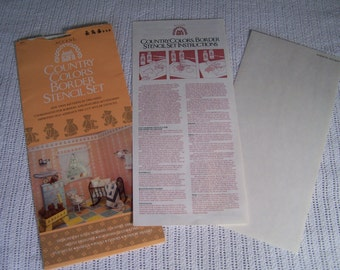 Stencils: Accent Country Colors Border Set. 1984. Twin Patterns #2075 - Ole Time Teddies. Unused