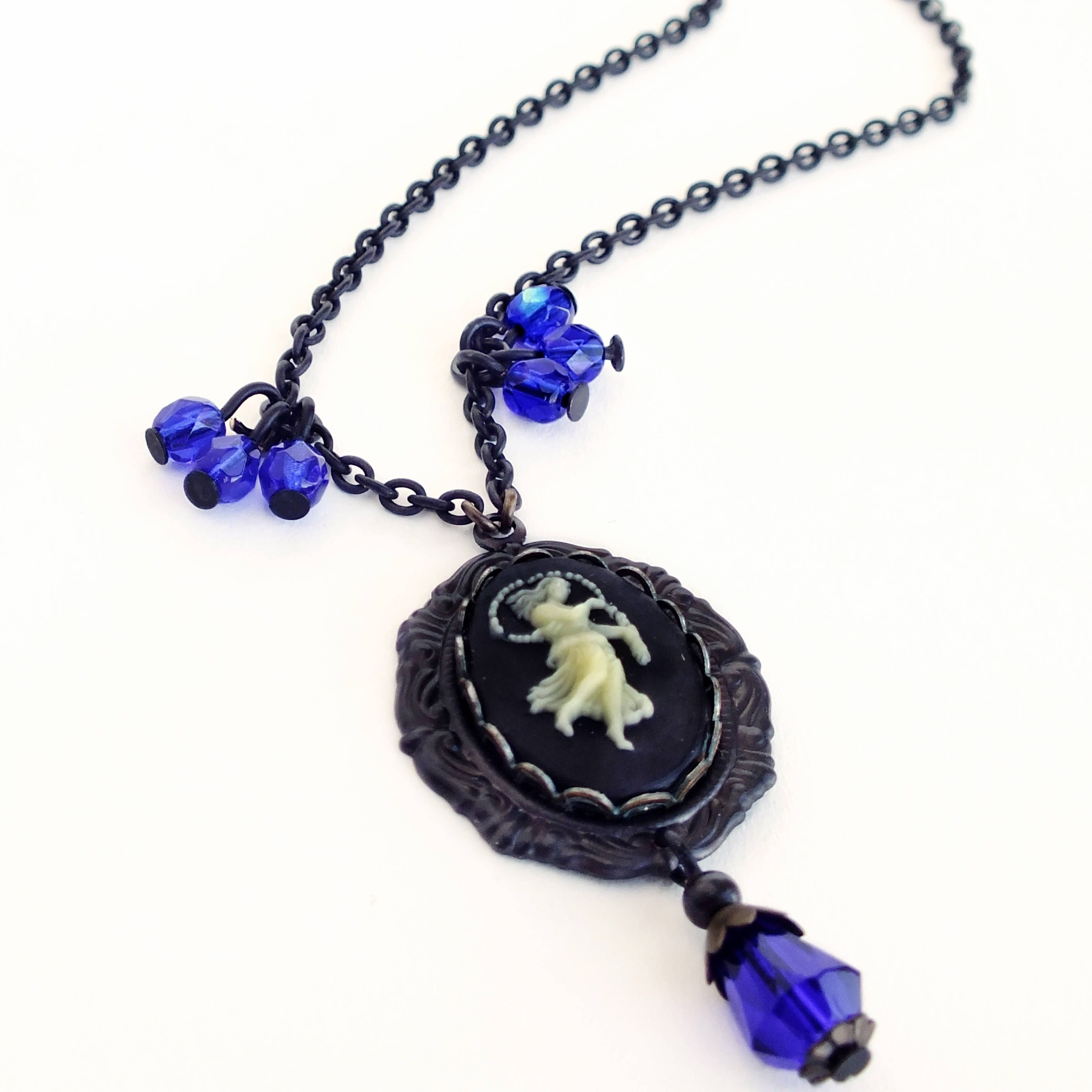 gold style blue eye hamsa fuession necklace peyote product cobalt evil jewelry beaded