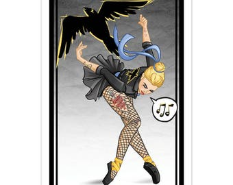 "Tattooed ""Black Canary Inspired"" Ballerina - (Metallic) LTD Print - by Denis Caron - Corvink"