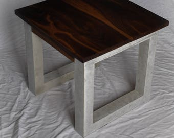 Black Walnut and Concrete Side Table