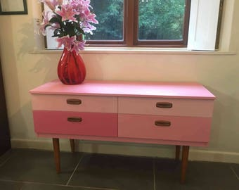 SOLD Vintage Schreiber mid century chest of drawers in pink ombre shades