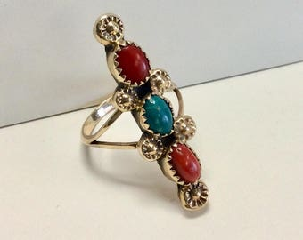14k Zuni Design Vintage Turquoise and Coral Ring