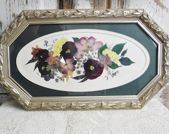Pressed Flower Print/Art Wall Decor/French Country Floral Wall Hanging/Framed/Carved Wood Frame/Oval/Green/Yellow/Pink/Purple/Vintage
