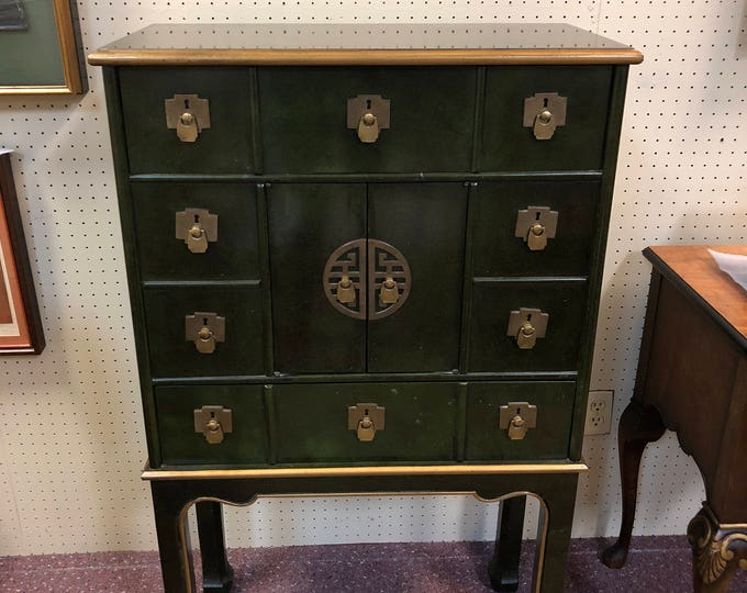 Mid Century Chinoiserie Apothecary Style Enameled Chest / Cabinet on Tall Legs, Green with Gilt Accents, Brass Hardware
