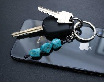 Blue Howlite Stone Bead Keyring; Key Holder