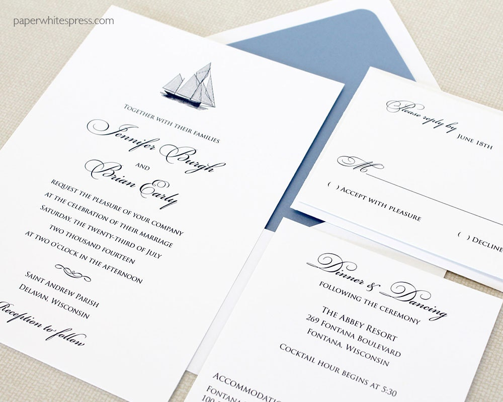 Sailboat Wedding Invitations: Sailboat Wedding Invitations Nautical Wedding Invitations
