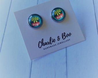 Glass Stud Earrings - 12mm Studs - Succulent Studs - Round Stud Earrings - Stainless Steel Studs - Succulent Earrings - Succulent Jewellery