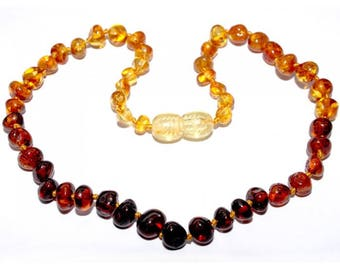 Genuine Baltic Amber Baby Teething Necklace Rainbow