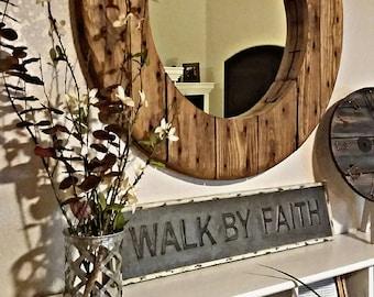 Rustic Round Mirror / Rustic Mirror / Round Mirror / Wood Mirror / Farmhouse Decor