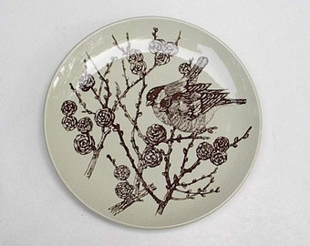 Stoneware Tree Song Bird Plate