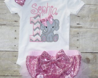 Elephant birthday sequin bloomers outfit, Elephant 1st birtday invitation, Elephant 1st birthday outfit, Elephant cake smash outfit