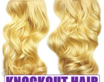 "Fits like a Halo Hair Extensions 20"" - 150 Grams 100% Premium Fiber Wavy Hair (Light Blonde/Lightest Blonde Mix - #86/613)"
