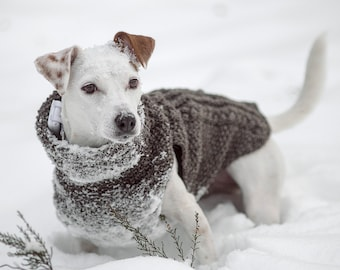 Hand-knit dog sweater 100% wool // custom made winter dog coat // turtleneck dog sweater all sizes