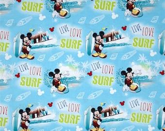 Destash Sale - Disney Mickey Mouse Live, Love, Surf Blue Fabric- Yardage