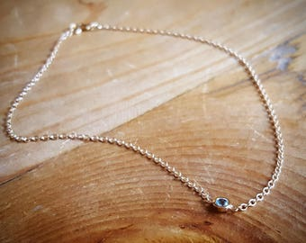 14K Gold Anklet Something Blue Anklet Womens Gift Blue Topaz Anklets Ankle Bracelet Something Blue Gift for Bride Gift Beach Wedding Jewelry