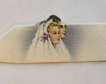 Vintage wedding place card bride and groom Gibson ephemera