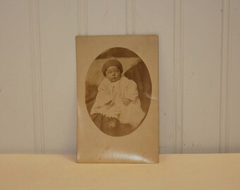 Antique Baby Photograph Postcard (c. 1900's) Antique Ephemera, Baby Postcard, Repurpose, Collectible, Art Collage, Vintage Nursery Decor
