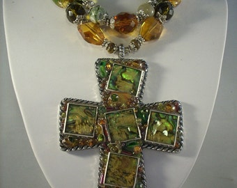 Christian Cowgirl Maple Turquoise Abalone Cross Necklace