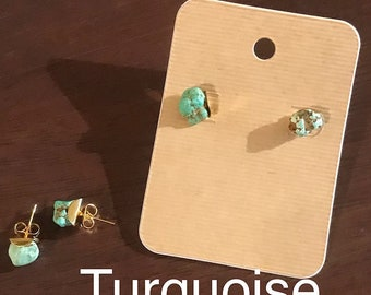Turquoise, Blue Jade, Sodalite, Labradorite, Howlite,Fluorite, Calcite, stud earrings, minimalist, 18k gold, handmade gemstone earrings