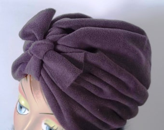 Micro fleece, fashion turban, hat, eggplant, full turban, winter, vintage style, designer, bow.  Size Sm, Med, L, XL.Free shipping in USA.