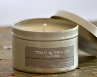 Crackling Firewood Soy Candle Tin 8 oz. - firewood candle - fall candle - holiday candle - firewood vanilla scent - campfire candle
