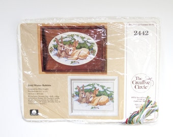 Rabbit Cross Stitch - Creative Circle Kit - Winter Cross Stitch - Counted Cross Stitch Kit - Rabbit Decor - Gifts for Crafters