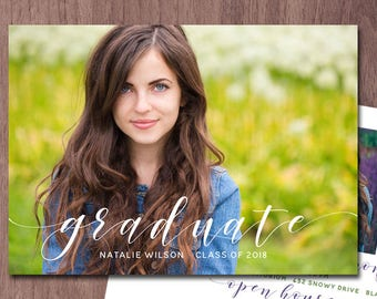 Graduation Announcement Photo Card Graduation Invitation High School Elegant Photo Graduation Announcement College Grad Invite Printable