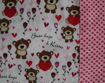 Valentine  Pillow Case, Kid's Valentine Pillowcase, Bear Pillow Case, Hugs and Kisses Pillow Case