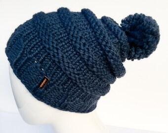 Knit Slouchy Hat with Pom Pom , Knit Hat Pom Pom, Women's Hat with Pom Pom, Knit Hat, Denim, Blue, Christmas Gifts, Gifts under 30
