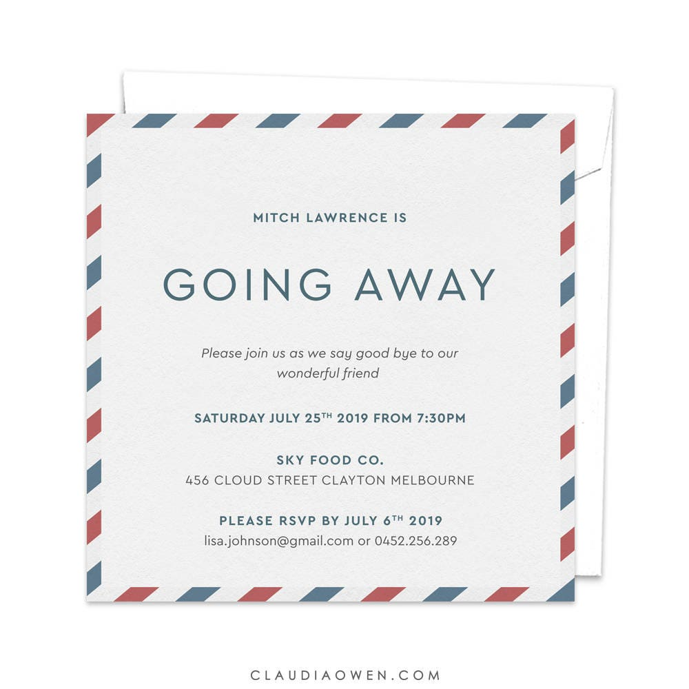 Going Away Party Goodbye Party Invitation Leaving Party