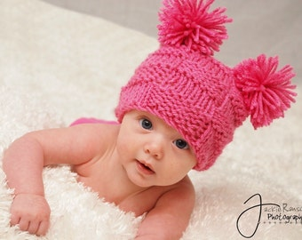 Baby Hat, Newborn Baby Hat, Knit Baby Hat, Little Miss Checker Head in Hot Pink or pick your color