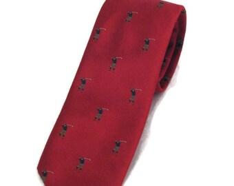 Vintage Neckwear Golf Tie Illusstrated Burgundy Tie Vintage Golf Tie Maroon Golf Tie Sports Tie Vintage Golfer Tie