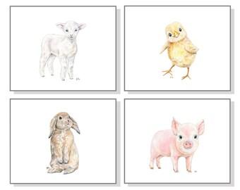 Baby Farm Animal Nursery Prints. Farm Nursery Art Barn Nursery Farmyard Barnyard Pig Piglet Chicken Chick Sheep Lamb Bunny Rabbit Set of 4.