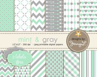 Mint and Gray / Grey  Digital Paper, Baby Shower, Baby Baptism colors, Nursery Room Scrapbooking, Invitations