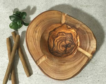 Rustic ashtray made with olive wood