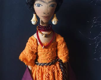 FRIDA Collectible Handmade Fabric Art Doll OOAK Textile Soft Sculpture