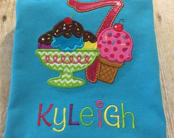 Personalized Ice Cream Party Birthday Shirt