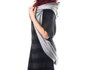 Hooded Scarf SALE with Hidden Pockets, Cell Pocket and Infinity Scarf Option -Reversible- Unisex- Patent Pending