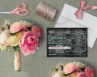 Chalkboard Bridal Shower Invitations for Country Chic Weddings / Mint Green Weddings / PRINTED Invitations with envelopes
