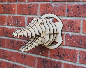 3D Puzzle CROCODILE Head - Faux Taxidermy - Wall Decor - Animal - Puzzle - MDF - Laser cut - Crocodile