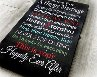 Canvas Wall Art, Wall Hanging, Wedding Sign, Wedding Gift, Gift for Her, Anniversary Gift, Happy Marriage Rules, Shower Gift, 16 X 24 Inches