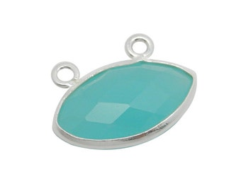Sea Green Chalcedony Marquise Double Bail Connector- 7mm x 14mm Sterling Silver Bezel Charm Pendant (GGB-03)