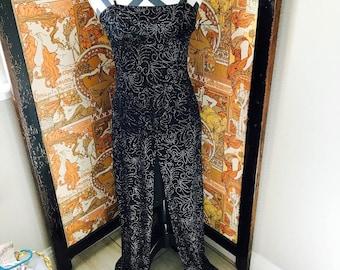 Vintage 1990s Sheer Black Silver Swirl Psychedelic Pattern Maxi Prom Dress Sz S