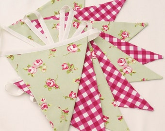Fabric Bunting, cottage chic Bunting, Wedding Bunting, Floral Pennant Banner, Flag Garland, Sage Green Bunting,  Raspberry Gingham