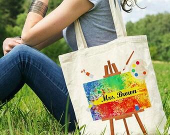 Art Teacher Gift Art Teacher Bag Personalized Tote Bag Gift for Artists Art Palette Bag Art Lover Gift Ideas