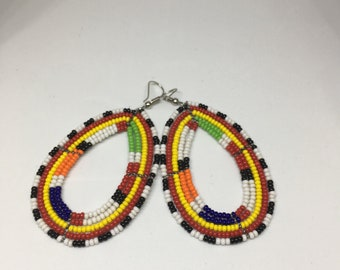 African Masaai Color Beaded, Hand Crafted Dangling Earings - only 1 available