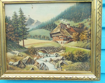Swiss Painting, Swiss Landscape Painting,Scenic Alpine Painting,Swiss Oil Painting,Alpine Chalet  Painting,European Landscape Painting