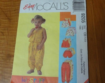 UNCUT Easy McCall's 9205 Toddler's Top, Pants, Shorts and Bloomers Size CB(1-2-3)